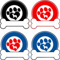 Veterinary Circle Labels With Love Paw Dog And Bone. Collection Set Royalty Free Stock Photo