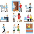 stock image of  Veterinary clinic set, people visiting vet clinic with their pets, veterinary doctors examining dogs and cats cartoon