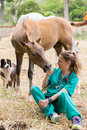 Veterinary on a farm great performing scan to young mare Stock Photo