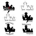 Veterinary Hospital logos with cat, dog, rabbit and parrot silho Royalty Free Stock Photo