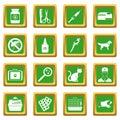 Veterinary icons set green