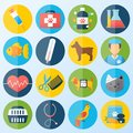 Veterinary icons set pet health care animal medicine isolated vector illustration Stock Photo