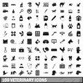 100 veterinary icons set, simple style