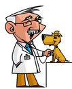Veterinary isolated illustration auscultating dog Stock Photo