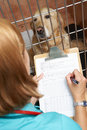 Veterinary nurse checking on dog in cage at vets Royalty Free Stock Photo