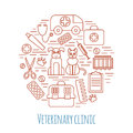 Veterinary pet health care animal medicine icons set Royalty Free Stock Photo