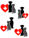 Veterinary set with cross heart and pets red silhouette Royalty Free Stock Photography