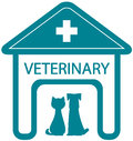 Veterinary symbol with home clinic and pet silhouette cat dog Stock Images