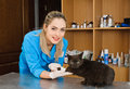 Veterinary woman with cat in banian hospital Stock Photos