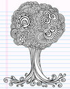 Vetor da árvore do esboço do Doodle do caderno Fotos de Stock