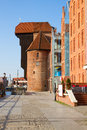 Vew of zuraw of gdansk view oldest crane in poland Royalty Free Stock Photography