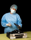 Vhs surgeon a shows that it is impossible to revive old technology such as recording devices Royalty Free Stock Images