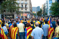 Via catalana barcelona spain september st unidentified catalonian citizens show they support to the catalunya independence on Royalty Free Stock Photo