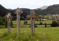Via crucis stations of the cross in the way of saint james pilgrimage in the basque country spain Stock Photography
