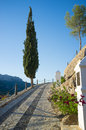 Via crucis traditioanal uphill under mediterranean sunlight Royalty Free Stock Photo
