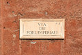 Via dei Fori Imperiali, street plate on a wall in Rome Royalty Free Stock Photo