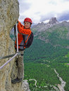Via Ferrata with young boy Stock Images