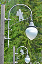 Via francigena street lamps on the pilgrimage route from canterbury to rome showing the symbol of the pilgrim Stock Photography