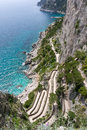 Via krupp view of on capri island from giardini di augusto Royalty Free Stock Photos