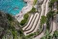 Via krupp view of on capri island from giardini di augusto Stock Photo
