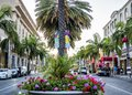 Via Rodeo - Rodeo Drive, palms and flowers on the August 12th, 2017 - Los Angeles, LA, California, CA Royalty Free Stock Photo