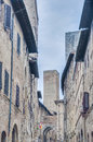 Via San Matteo street in San Gimignano in Stock Photos