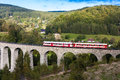 Viaduct novina engine carriage on krystofovo valley czech republic Royalty Free Stock Images