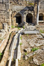 Viaduct and ruins in Corinth, Greece Royalty Free Stock Photography