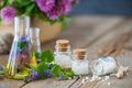 Vials of tincture of healthy herbs and bottles of homeopathy globules. Royalty Free Stock Photo