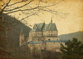 Vianden castle paper texture with image of located in in the north of luxembourg is one of the largest Stock Photo
