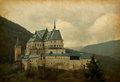 Vianden castle paper texture with image of located in in the north of luxembourg is one of the largest Royalty Free Stock Photography