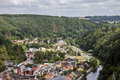 Vianden and our river old town in luxembourg cityscape with Royalty Free Stock Image