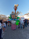 Viareggio italy february allegorical float of beppe gri grillo at carnival held Royalty Free Stock Photography