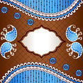 Vibrant banner inspired by indian mehndi designs in blue orange and gold henna tattoos graphics are grouped and in several layers Stock Photos