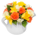 Vibrant colored rose flowers (red, orange, yellow and white roses) in a white water can, isolated, white background Royalty Free Stock Photo