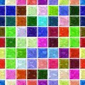 Vibrant colorful spectrum stony mosaic seamless pattern texture background with white  grout - regular squares Royalty Free Stock Photo