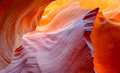 Vibrant colors of eroded sandstone rock in slot canyon, antelope