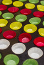 Vibrant cupcake wrappers (backing cups) in try Royalty Free Stock Photo