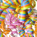 Vibrant curly party streamer Stock Images
