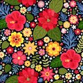 Vibrant ditsy floral pattern with exotic flowers in vector. Seamless colorful background. Vector illustration. Royalty Free Stock Photo