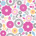 Vibrant floral scaterred seamless pattern vector background with abstract elements Stock Photography