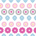Vibrant floral stripes seamless pattern background vector with abstract elements Royalty Free Stock Photos