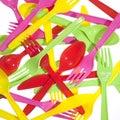 Vibrant forks, kives, spoons Stock Image