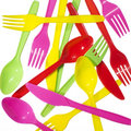 Vibrant forks kives spoons Royalty Free Stock Photos