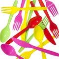 Vibrant forks kives spoons Royalty Free Stock Photo
