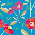 Vibrant hand drawn poppies vector seamless pattern on subtly textured bright blue background. Colourful seamless vector