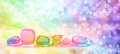 Vibrant healing crystals on Bokeh banner