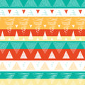 Vibrant ikat stripes seamless pattern background vector abstract with hand drawn elements Royalty Free Stock Photos