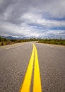 Vibrant image of highway and blue sky cloudy Stock Photo