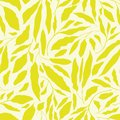 Vibrant lime green hand drawn leaves on neutral cream background. Seamless vector design with a fresh organic feel